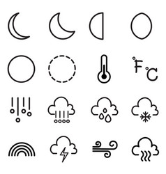 weather and moon icons symbol vector image