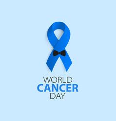 world cancer day prostate cancer ribbon awareness vector image