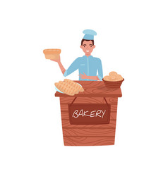 young guy selling fresh bread wooden stall with vector image