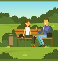 Young man and woman sitting on the bench in the vector