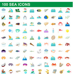 100 sea icons set cartoon style vector image