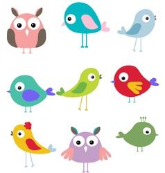 cute bird cartoon set vector image vector image