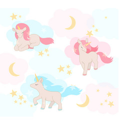 Cute little unicorns with pink and blue hair vector