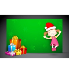 Girl jumping with gift vector
