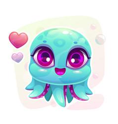 little cute cartoon baby octopus vector image