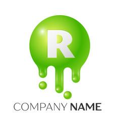r letter splash green dots and bubbles letter vector image