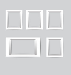 set of white photo frames collection of vector image