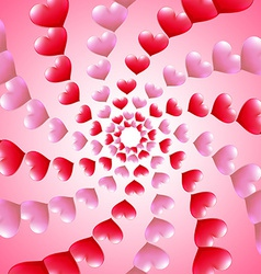Valentines Day card with spiral heart rows vector image vector image