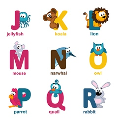 alphabet animals from J to R vector image
