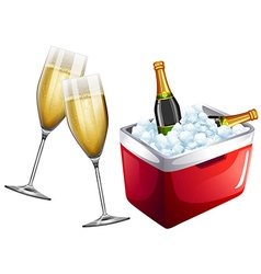 Champagne glasses and icebox vector