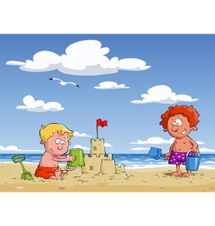 children on the beach vector image vector image