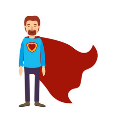 colorful image caricature full body super dad hero vector image vector image