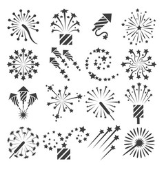 firework icons party signs vector image vector image