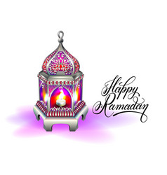 ramadan kareem greeting card with silver red vector image