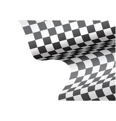 checkered flag wave white blank space sport race vector image vector image