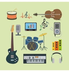 Flat icons music set vector image vector image