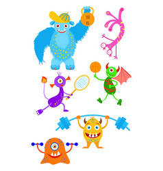 funny fantasy monsters playing sport games vector image