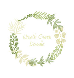 greenery floral circle wreath vector image vector image
