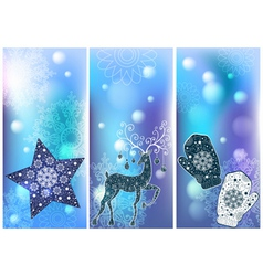 set of 3 winter cards vector image