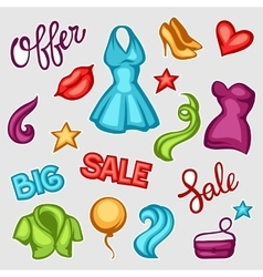 Set of female clothing and accessories Big sale vector image vector image