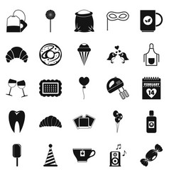 sweet food icons set simple style vector image