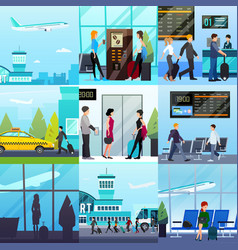 airport express compositions set vector image vector image