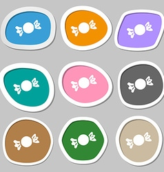 candy icon symbols Multicolored paper stickers vector image