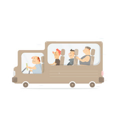 funny bus amusing characters vector image vector image