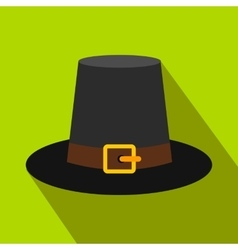 Gorgeous pilgrim hat flat icon with shadow vector image