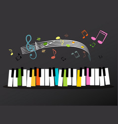 music keyboard with colorful keys and notes vector image vector image