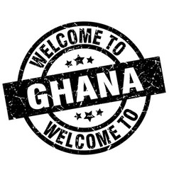 welcome to ghana black stamp vector image vector image