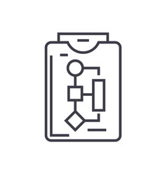 workflow plan linear icon sign symbol on vector image