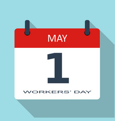 1 may workers day flat daily calendar ico vector image