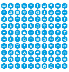 100 childrens park icons set blue vector image vector image