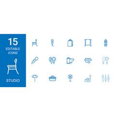 15 studio icons vector