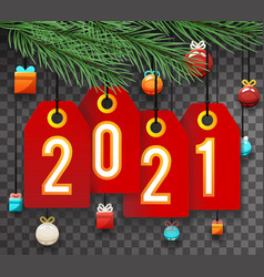 2021 spruce tree branch with labels and toys vector image