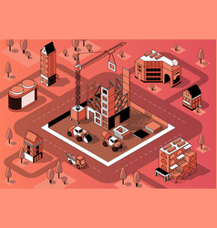 3d isometric construction site building vector image