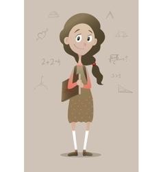 a clever pry schoolgirl vector image