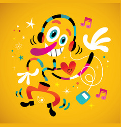 Abstract music fan character vector