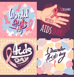Aids day banner set hand drawn style vector