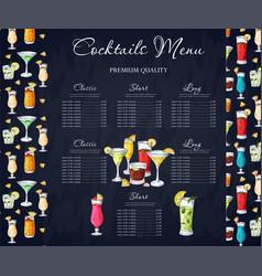 alcohol drinks menu bar brochure template vector image