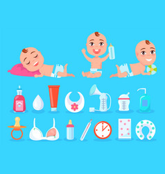 Baby and objects for kid care vector