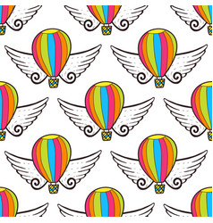 balloon seamless pattern with wings bright vector image