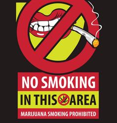 banner marijuana smoking prohibiting vector image