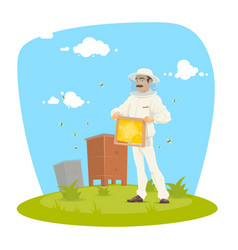 beekeeper with honeycomb frame and honey icon vector image