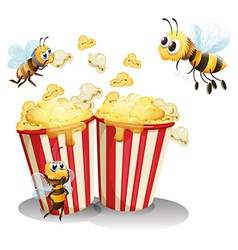 Bees and popcorn vector image