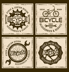 bicycle shop and service four colored emblems vector image