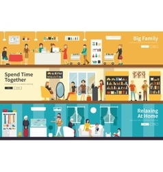 Big Family Spend Time Together Relaxing At Home vector