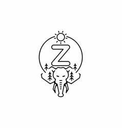 Black line art elephant head with z initial vector
