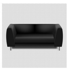 Black sofa isolated transparent background vector